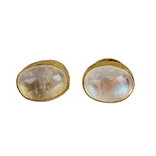 2.03Ct Rainbow Moonstone Diamond Oval Stud Earrings Gemstone Solid Pave 14K Yellow Gold Party Wear Fine Jewelry (Moonstone Earrings Diamond)