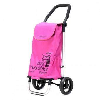 Carlett Lett201 Designer Look Folding 2 Wheel Shopping Trolley with Adjustable Handle (Pink)
