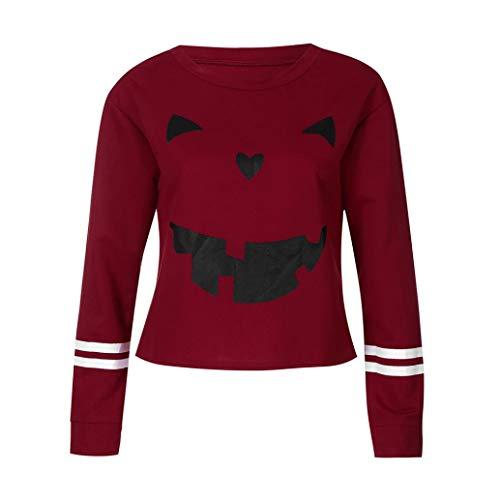 Women Halloween Shirt Funny Pumpkin Costume Long Sleeve Sweatshirt Hoodie Top(L,Large) -