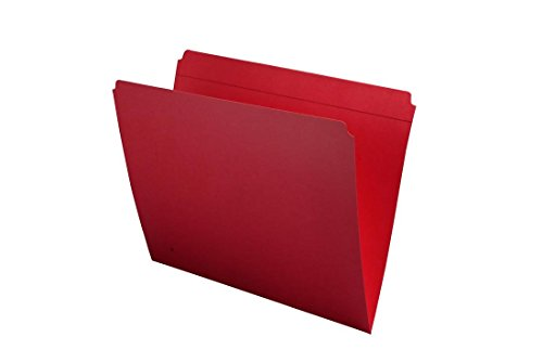 11 pt Red Folders, Full Cut Reinforced Top Tab, Letter Size (Box of 100)