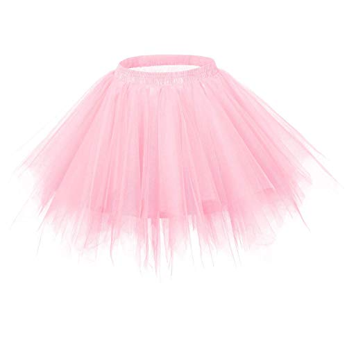 MsJune Women's 1950s Vintage Petticoats Crinolines Bubble Tutu Dance Half Slip Skirt Pink-S/M -