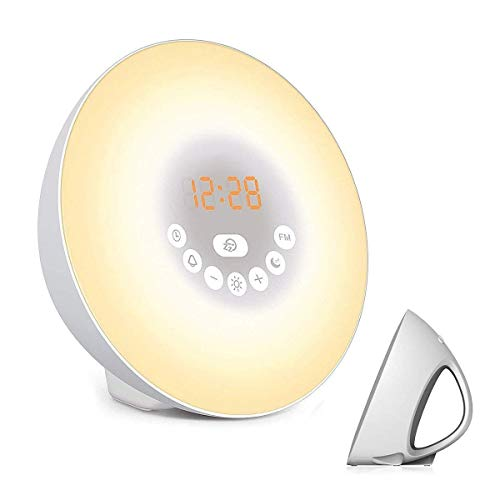 Vicvol Sunrise Alarm Clock, Digital LED Clock with Sunset Simulation & Touch Control, Smart Wake Up Light with 6 Nature Sounds & FM Radio, Color Changing Night Light for Kids and Heavy Sleepers(White)