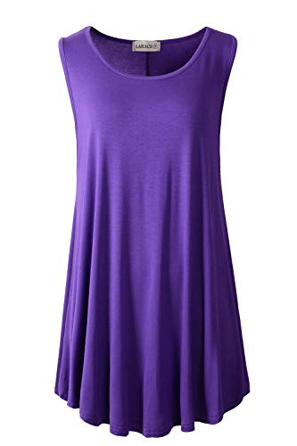 LARACE Women Solid Sleeveless Tunic for Leggings Swing Flare Tank Tops (5X, Deep Purple) ()