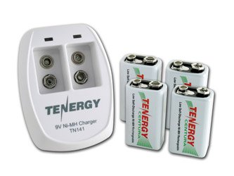 Tenergy TN141 2 Bay 9V Smart Charger with 4 pcs Centura Low Self-discharge 9V NiMH Rechargeable Batteries (9v Charger Battery Smart)