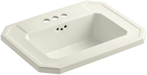 KOHLER K-2325-4-96 Kathryn Self-Rimming Bathroom Sink, Biscuit