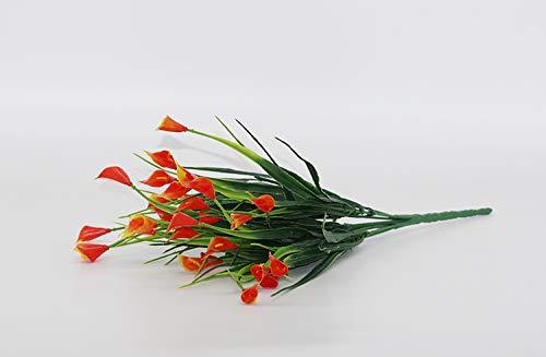 25本/ブーケ ミニ 人工カラ 葉付き シルクフェイクユリの造花 アクアティック植物 ホームルームデコレーション フラワーオレンジ B07H6XW25J