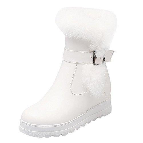Mee Shoes Women's Sweet Zip Faux Fur Platform Inside Heel Short Boots White EQkvneb