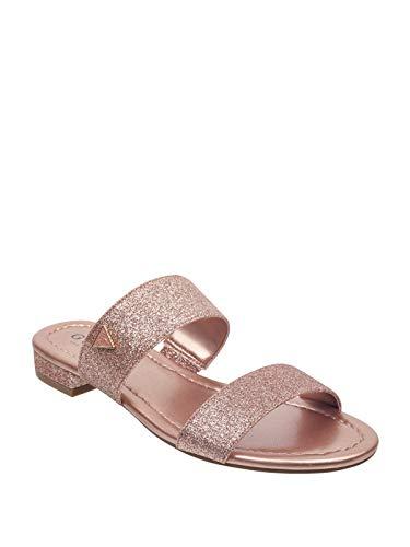 (GUESS Factory Women's Korine Glitter Double-Strap Slide Sandals)