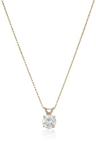 (Jewelili 10K Yellow Gold Solitaire Pendant Necklace Set with Round Cut Swarovski Zirconia (1 cttw), 18