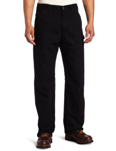 Flannel Lined Dungaree - Carhartt Men's Washed Duck Work Dungaree Flannel Lined,Black,36 x 32