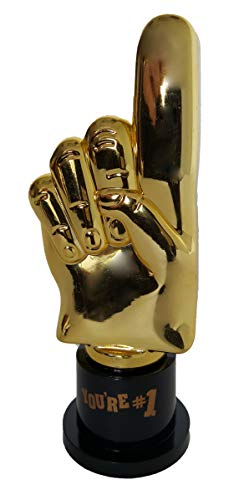 Plastic Gold Trophies, Oscar Trophy, Thumbs Up Trophy, High Five Trophy, Youre #1 Trophy, Star Trophy, Banana Trophy, Rock Star Trophy, by Playscene (5