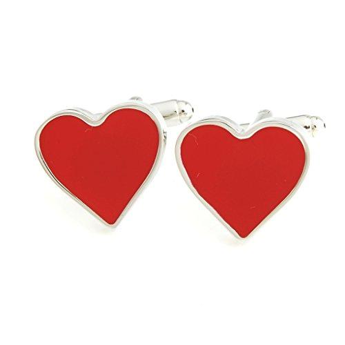 The Smart Man Men's Red Heart Shaped Cufflinks