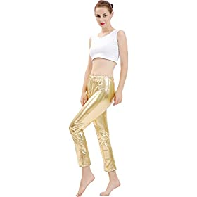 - 31XCYkDggJL - GAIBEST Women Metallic Color Shiny Lycra Stretch Leggings Leotard