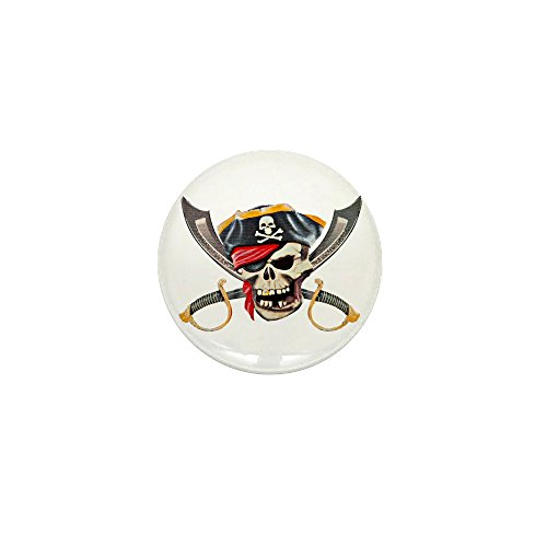 Mini Button Pirate Skull Eyepatch Gold Tooth