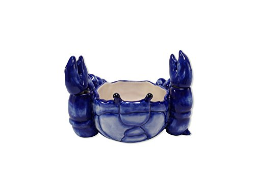 Blue Sky Ceramic Crab Butter Bowl, 7 x 5 x 5, Blue