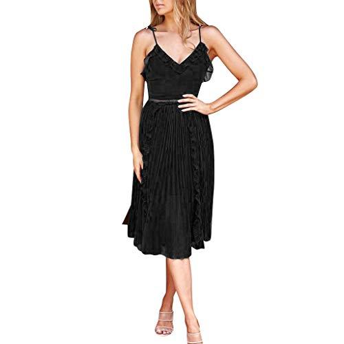 Sunhusing Women's Chiffon Solid Color Spaghetti Sling Ruffled V-Neck Pleated Large Flowy Hem Princess Dress Black -