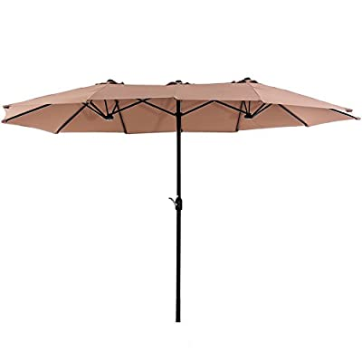SUPERJARE 14 Ft Outdoor Patio Umbrella, Extra Large Double-Sided Design with Crank, 100% Polyester Fabric