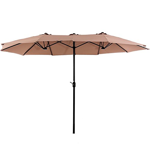SUPERJARE 14 Ft Outdoor Patio Umbrella, Extra Large Double-sided Design with Crank, 100% Polyester Fabric - Beige by SUPERJARE