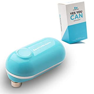 Kitchen Mama Mini Electric Can Opener: Open Your Cans with A Simple Push of Button - No Sharp Edge, Food Safe and Battery Operated Cute Opener(Blue)