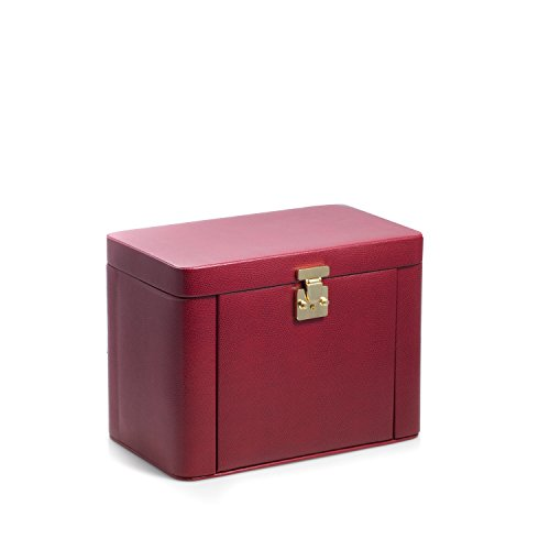 Time Factory AJ-BB675RED ''Lizard'' Leather 4 Level Jewelry Box with Travel Pouch, Red by The Time Factory (Image #1)