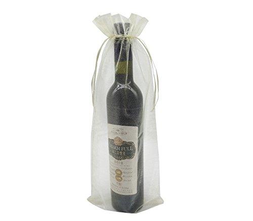 Ankirol 20pcs Sheer Organza Wine Bags 5.5x14.5 inch Baby Shower Wedding Favors Drawstring Pouches (Cream)