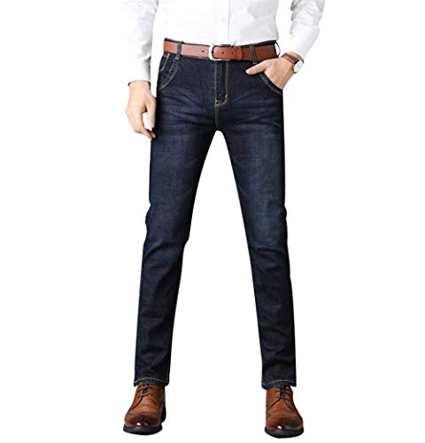 Casual Da Blau Invecchiato Denim Business Regular Look Fit Pants Vintage Fashion Jeans Pantaloni Uomo Giovane 2 wf4xdqnFBI