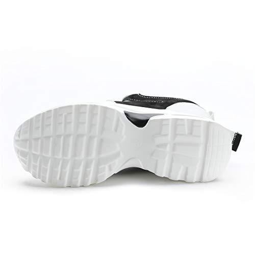 Scarpe Interna 9cm Ginnastica Donna nero Zeppa Con Da Tqgold® Basse Sneakers Sportive Fitness A qB601pnwt