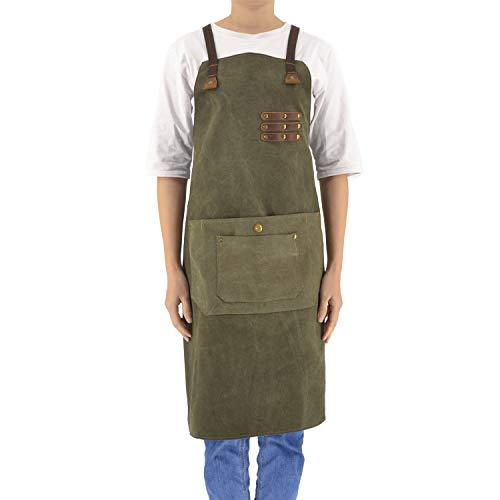 Work Apron for Men Women Canvas Leather,Bid Adjustable,With Pocket Denim,Professiona Chef,BBQ,Blacksmith,Woodworking,Machinist,Barber,Tool Aprons