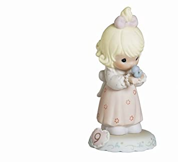 Precious Moments, Birthday Gifts, Growing In Grace, Age 9 , Bisque Porcelain Figurine, Blonde Girl, 183865