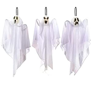 3 Pack Halloween Party Decoration 25.5″ Hanging Ghosts, Cute Flying Ghost for Front Yard Patio Lawn Garden Party Décor and Holiday Decorations