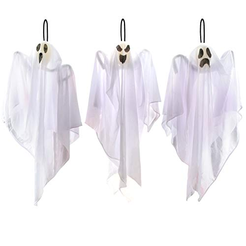 JOYIN 3 Pack Halloween Party Decoration 25.5 Hanging Ghosts, Cute Flying Ghost for Front Yard Patio Lawn Garden Party D