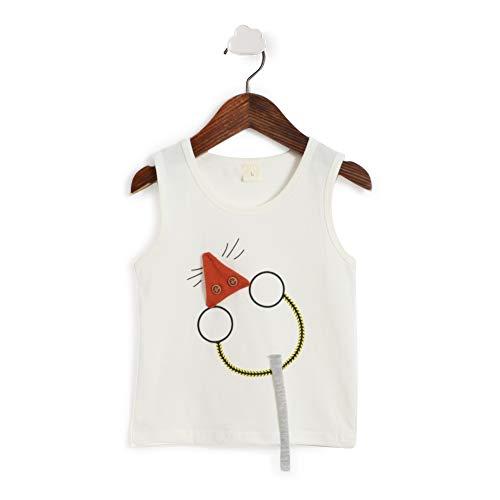 Hopscotch Boys Cotton Applique Vest and Short in White Color