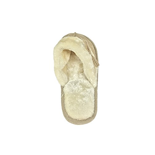 Zapatillas De Diapositivas Para Mujer Microsuade Con Lazo A Juego Y Puño De Piel Sintética - Colores Surtidos Tostado