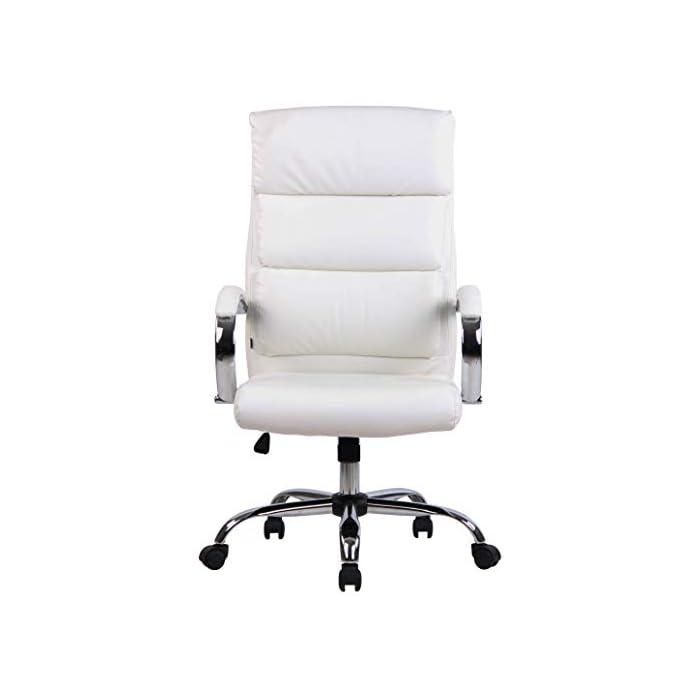31XChAgLLgL MATERIALES: La silla ejecutiva cuenta con un agradable acolchado y un tapizado disponible en tela (100% poliéster) o en cuero sintético (100% poliuretano) según su elección. La base está disponible en metal cromado, reistente y fácil de limpiar. CARACTERÍSTICAS: La silla de oficina ofrece una postura ergonómica gracias a su forma y cualidades de asiento, la libertad de movimientos viene dada gracias a su respaldo con mecanismo de balanceo, su asiento giratorio y regulable en altura. La silla de oficina es cómoda y ofrece gran libertad de movimientos. DIMENSIONES: La silla de escritorio cuenta con las siguienes medidas aproximadas: Altura: 112 - 122 cm I Ancho: 64 cm I Profundidad: 70 cm I Altura del asiento: 44 - 54 cm I Superficie del asiento (AxP): 54 x 52 cm I Altura del respaldo: 72 cm I Altura de los reposabrazos: 67 - 77 cm I Capacidad máx. de carga: 136 kg I Peso: 16 kg.