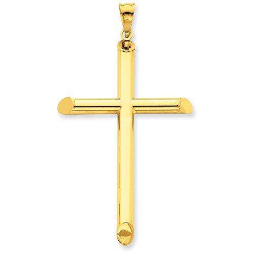 3-D 14 carats poli creux Pendentif croix-Dimensions :  31,6 x 56.9-JewelryWeb mm