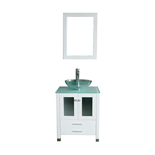 (Walcut 24 inch White Bathroom Vanity and Sink Combo Modern MDF Cabinet with Vanity Mirror Tempered Glass Counter Top Round Glass Vessel Sink with Faucet and Pop Up Drain)