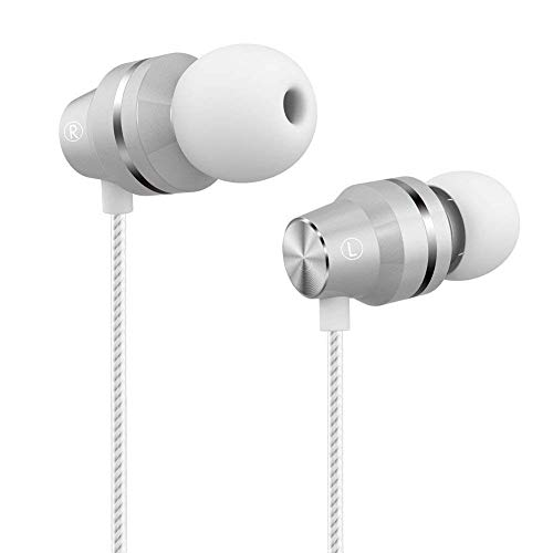 Earbuds Stereo Earphones with Microphone Bass in Ear Headphones with Mic and Volume Control 3.5mm Plug Compatible Multiple Audio Devices 3.9 Ft White (Best Headphones With Mic And Volume Control)