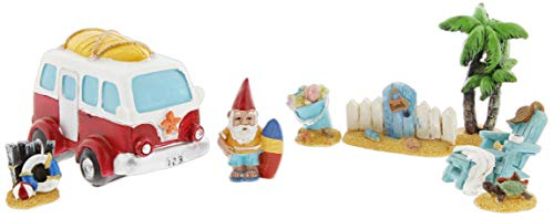 (Distinctive Designs Set of 8 Mini Fairy Garden Figurines - Beach Theme Includes Surfing Gnome, Retro Van, Palm Tree)