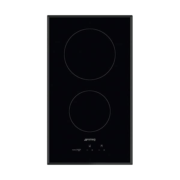 Smeg 12'' Ceramic Cooktop with Angled Edge Glass, Black Glass Suprema with Soft Touch Controls, 2 Hight Light Radiant… 1