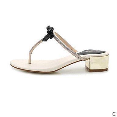 RUGAI-UE Moda de Verano Mujer sandalias casuales zapatos de tacones PU Confort,Negro,US6 / UE36 / UK4 / CN36 White