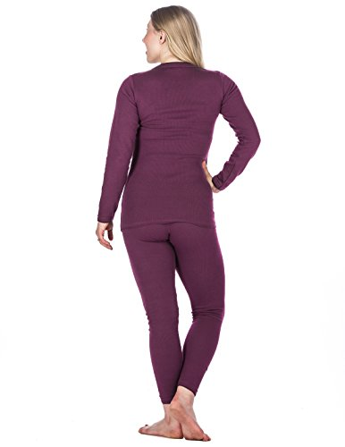 Noble Mount Frío Extremo Conjunto Térmico de Waffle Knit para Mujer Violeta