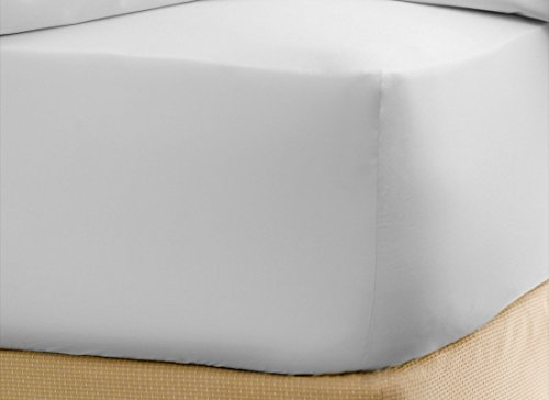 Plain Fitted Sheet (Luxury Soft White Plain King Fitted Sheet 21 Inch deep Pocket , In 100 % Egyptian Cotton , 600 -Thread-Count)