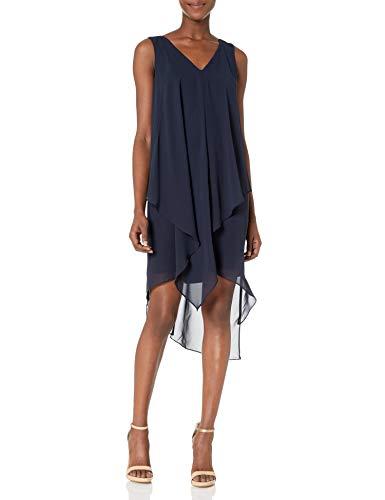 London Times Women's Sleeveless Midi Chiffon Shift Dress w. Asymetrical Hem, Navy, 12