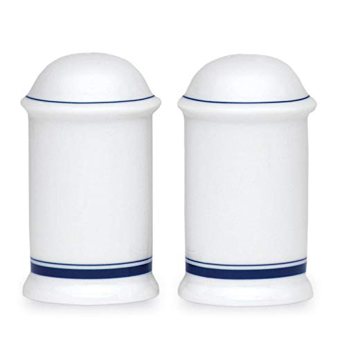 Christianshavn Blue Salt and Pepper Shakers White Porcelain 2 Piece by Unknown