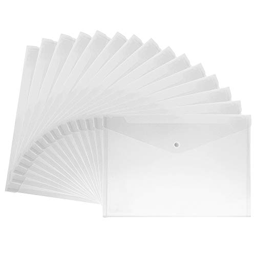 MyLifeUNIT 15pcs Transparent A4 Paper Size PP Water Resistant File Holder Clear Filing Envelope with Snap Button (White)