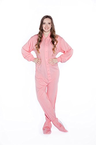 Big Feet PJs Pink Jersey Knit Adult Footed Pajamas No Drop Seat (XL)