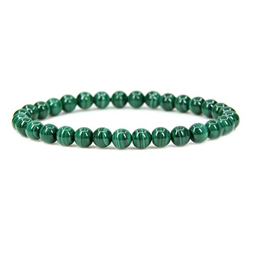- Natural AA Grade Malachite Gemstone 6mm Round Beads Stretch Bracelet 7