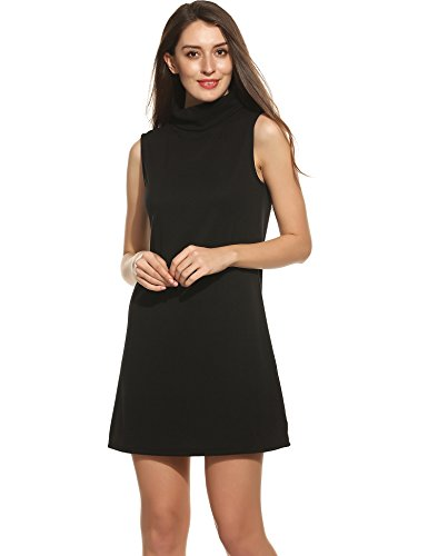 ACEVOG Women's Casual Loose Ribbed Turtleneck Sleeveless Summer Cocktail Evening Dress(X-Large, Black)