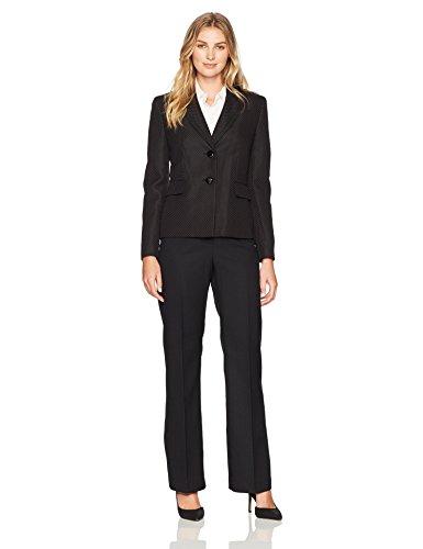 Le Suit Women's Pique 2 Button Notch Lapel Pant Suit, Black, 16 by Le Suit