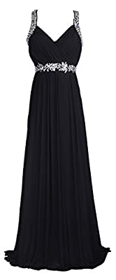 Licoco Women Beading Straps Ruched Long Formal Prom Gowns Bridesmaid Dress